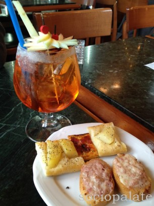 Aperol spritz and snack at Caffe Liberta firenze