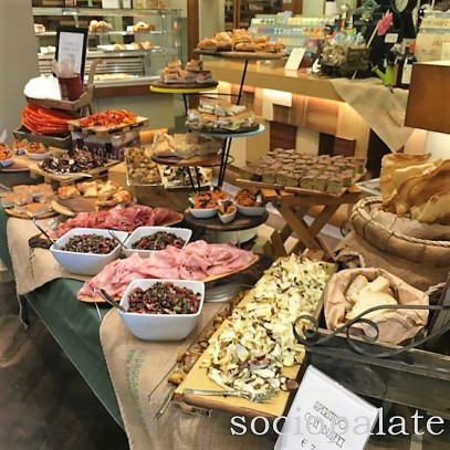Aperativo buffet at caffe Lorenzo pasticceria in florence