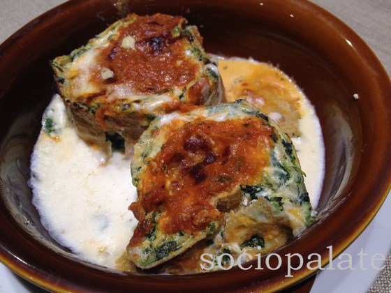 Florentine traditional dish crespelle fiorentina spinach and ricotta crepes with bechamel sauce