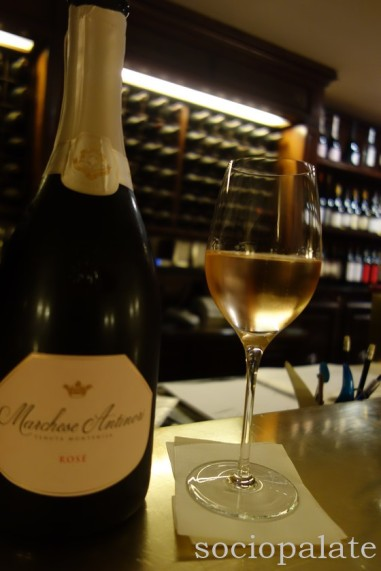 Franciacorta sparkling wine at the bar