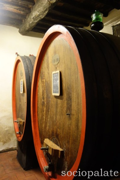 traditional large wooden Chianti wine barrels