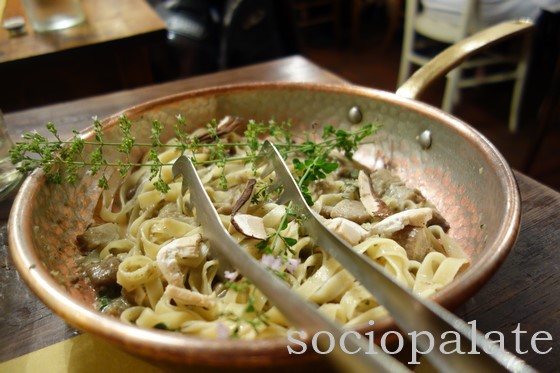 Porcini mushroom pasta served in the saute pan at restaurant A Casa Mia in Chianti
