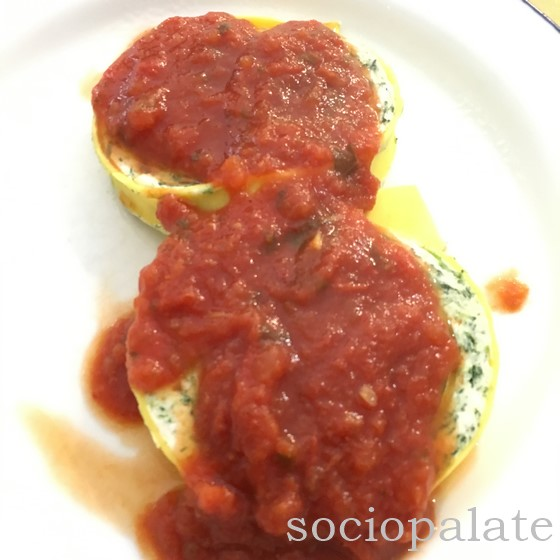 Ricotta and Spinach pasta roll with tomato sauce at the boutique della pasta fresca restaurant in florence