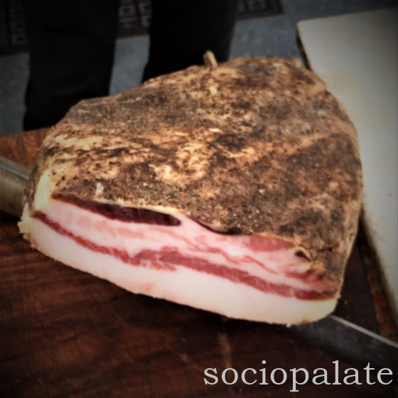 guanciale cured pork cheek used in pasta carbonara or amatriciana