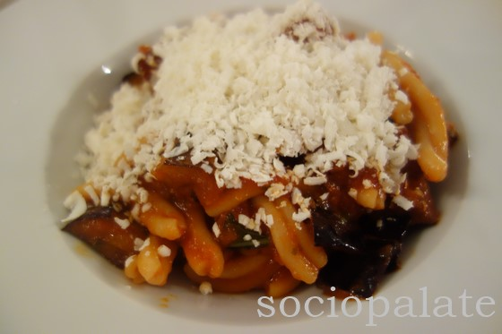 Pasta alla Norma with fried eggplant tomato sauce and ricotta salato typical sicilian pasta