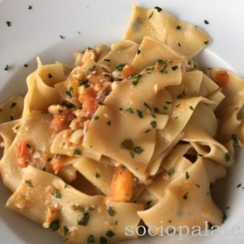 Macheroni alla Trabaccolara seafood pasta from Trattoria i Nanni in Viaregio excellent seafood lunch