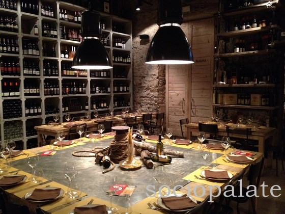 chic industrial decor at the trendy wine focused piazza del vino restaurant in florence