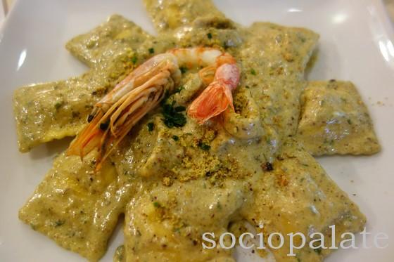 Grouper Ravioli with Calamari, Shrimp and Pistachio Sauce at Aridiccioni la Lanterna restaurant in Follonica