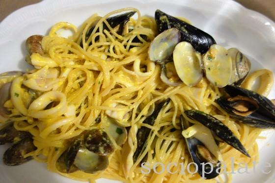 Spaghetti Carbonara di Mare seafood pasta at Palmieri La Lanternina 2 restaurant in Follonica
