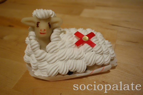 Easter lamb shaped marzipan dessert